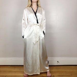 Jones New York Cream Satin Belted Robe Sz S/M